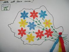 colaj cu flori pe harta Romaniei - collage of flowers on the map of Romania 1 Decembrie, Diy And Crafts, Crafts For Kids, Romania, Quilling, Homeschool, Projects To Try, Teacher, Map