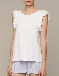 Top with frill detail - T-shirts - Sleepwear - SHOP BY CATEGORY - United Kingdom