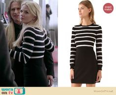 Emma's black and white striped longsleeve dress on Once Upon A Time.  Outfit details: http://wornontv.net/11874/