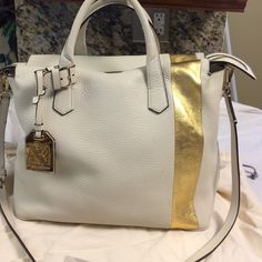 Selling this Reed Krakoff White n gold pebbled leather satchel in my Poshmark closet! My username is: b287807. #shopmycloset #poshmark #fashion #shopping #style #forsale #Reed Krakoff #Handbags
