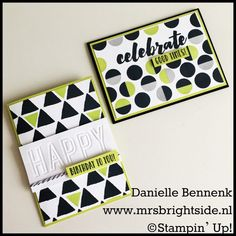 Geometric graphic style cards with Happy Celebration and Tabs for everything stampset by Stampin' Up!