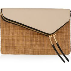 Henri Bendel Debutante Convertible Straw Clutch (300 BGN) ❤ liked on Polyvore featuring bags, handbags, clutches, natural multi, woven purse, convertible purse, chain handbags, straw handbags and woven handbags