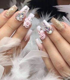 14 - Nail designs for bride and special occasions - 1 Are you ready to show your difference in your special days, wedding and entertainment programs? Rose Gold Nails, Diamond Nails, Pink Nails, Bride Nails, Wedding Nails, 3d Nails, Swag Nails, Nagel Stamping, 3d Flower Nails