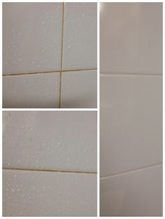 Clean bathroom tiles Use 1 part vinegar and 2 parts water,mix in spray bottle and spray tiles. Leave it on for 15-30mins. Empty spray bottle and fill with hot water, using an old toothbrush scrub between tiles and spray at the same time, your tiles will look new again .... Works amazing