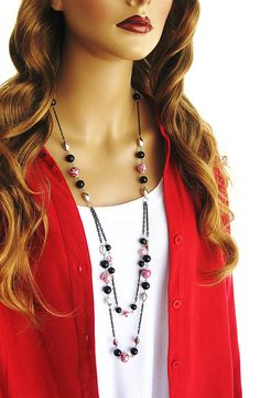 Long Black and Red Beaded Necklace Long Black by RalstonOriginals