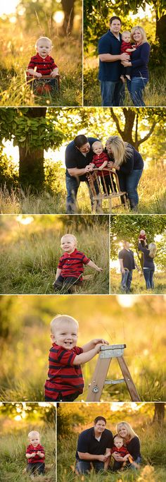 Kansas City Baby and Family Photographer Swade Studios www.swadestudiosphotography.com - outdoor summer family session with 1 year old boy, navy, red, red wagon, sunset.
