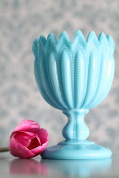 Turquoise Blue Milk Glass Goblet Compote