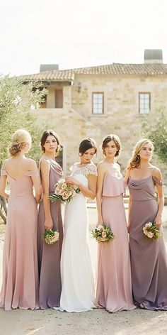 long off the shoulder spaghetti straps dusty lavender bridesmaid dresses jenny yoo Bridesmaid Dresses Under 50, Blush Bridesmaid Dresses Long, Beautiful Bridesmaid Dresses, Bridal Party Dresses, Wedding Bridesmaids, Bridesmaid Ideas, Wedding Dresses, Bridal Parties, Lilac Wedding