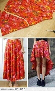 DIY long into long-short skirt. Simple and cute.