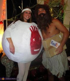 "Castaway Couple Costume - Halloween Costume Contest via @costumeworks.....great couples costumes.""Wilson!"""