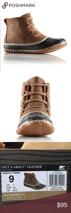Sorel OUT N ABOUT™ LEATHER DUCK BOOT The Out N About Leather is the perfect blend of sneaker boot, barn boot, and looks as cool on city streets as it does wading through mud and muck. Color is Elk. Brand new, never been worn with tags still on. Sorel Shoes Ankle Boots & Booties