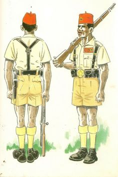 GUARDIA COLONIAL DEL GOLFO DE GUINEA.Sobre 1950 hasta 1968. Cabo indigena en uniforme de formación para ...diario
