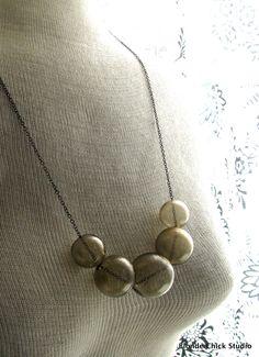 Smokey Brown Hollow Glass Bead Gunmetal Necklace.
