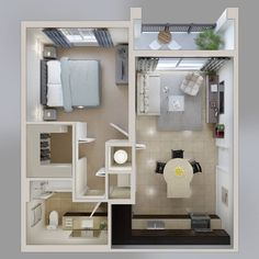 One Bedroom Apartment Floor Plan Small Apartment Bedrooms, Apartment Bedroom Decor, Apartment Design, Small Apartments, Small Spaces, Apartment Ideas, Studio Apartments, Small Apartment Layout, Couples Apartment