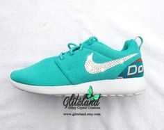 c9a7d936a59d Swarovski Nike Miami Dolphins Womens Blue  Turq Roshe blinged with SWAROVSKI ®