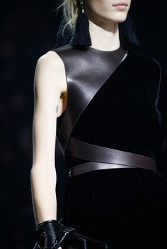Black dress with asymmetric leather harness; fashion details // Lanvin Fall 2015