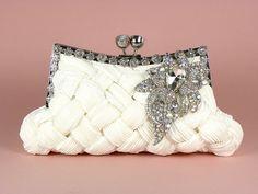 ON SALE Ivory Bridal Clutch, Wedding Clutch, Vintage Style Bridal Clutch with Large Crystal Vintage Style Brooch. $80.10, via Etsy.
