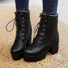 Lace Up Ankle Boots High Heels Platform Thick Heeled Shoes Woman
