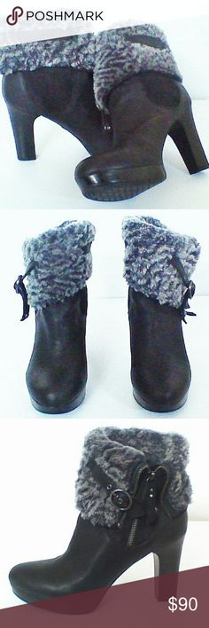 Uggs Scarlet black leather / shearling cuff boots New without tags or box.  never worn!! UGG Shoes Ankle Boots & Booties