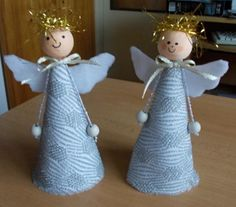 Need to try the arm design.a bead at the end of ribbon or string 😊 Christmas Angel Ornaments, Ribbon On Christmas Tree, Handmade Christmas Decorations, Christmas Fun, Angel Crafts, Diy And Crafts, Christmas Crafts, Crafts For Kids, Handmade Angels