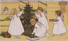 Decorating the Christmas Tree, Victorian postcard