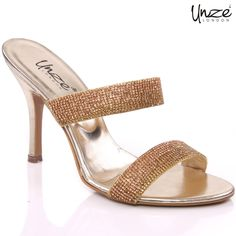 Women evening heeled sandals are actually mended with synthetic material and have  man made linning material. Heels are nicely carved and have lightly padded footbed.