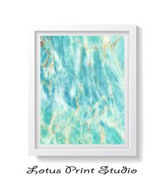 Mint Blue Marble Abstract Watercolour Painting Contemporary