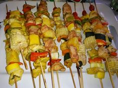 Curry Chicken kabobs with corn.