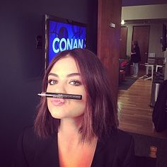 """Be sure to watch the beauty @lucyhale on Conan tonight wearing @markgirl cosmetics gloss gorgeous lip stain in Bare Naturelle. @thewallgroup. Gorgeous hair by @kristin_ess"" -keenihan Instagram"