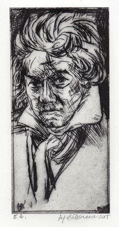 """""""L. Beethoven"""" Drypoint by H.-J. BERGMANN Printmaking, Black And White, Drawings, Prints, Art, Sketch, Graphic Prints, Graphics, Figurine"""