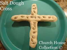 Easter salt dough cross with seashells