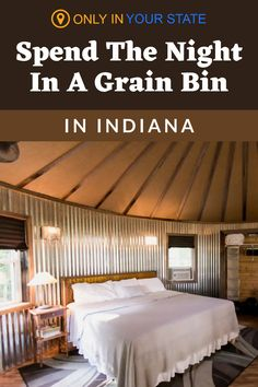 If you're looking for a relaxing getaway in Indiana, travel to this luxury grain bin in the middle of Amish Country. It makes for a unique vacation accommodation complete with amenities like a flat-screen television, kitchenette, and fire pit. Sleep in or head outdoors and explore the surrounding plains. Heaven Book, Eagle Lake, Cozy Furniture, Two Twin Beds, Unique Vacations, Editing Background, Hidden Beach, Rope Crafts, Amish Country