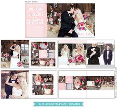 Heartfelt Love   12x12 Wedding Album template   Photoshop templates for photographers by Birdesign
