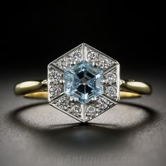 Vintage Hexagonal Aquamarine and Diamond Ring