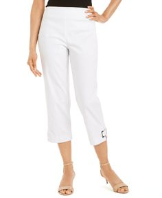 Add a dash of chic sophistication to your work-week lineup with Jm Collection's capri pants, featuring rectangle grommet detail at cuffs. Pair with your favorite casual blazer for work, or keep it cool and fun with a comfortable top and chic sandals. Casual Blazer, Casual Outfits, Womens Capri Pants, Work Week, Lineup, Women's Leggings, Cuffs, Silhouette, Detail