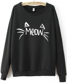 Romwe MEOW Cat Print Loose Black Sweatshirt