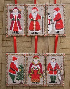 gazette94; free Old World Santa Ornament  counted cross stitch patterns