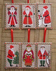 gazette94; free Old World Santa Ornament  counted cross stitch patterns