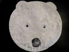 polar bear with mix of shaving foam, glue and glitter