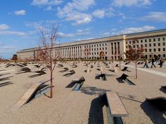 This is the 9/11 Pentagon Memorial each thing you see is a bench that was placed in memory of each person who died during the terrorist attack