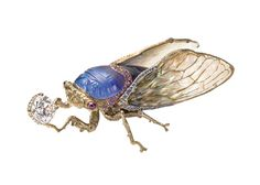 Wallace Chan carved opal, diamond, sapphire and amethyst cicada brooch