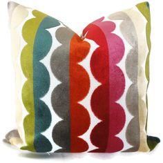 Jonathan Adler Multicolor Semi Circle Velvet Decorative Pillow Cover, Accent Pillow, Throw Pillow, Pillowcase. $65.00, via Etsy.