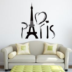 Paris Wall Decal Vinyl Sticker- Wall Decals Vinyl Stickers Eiffel Tower Skyline Silhouette Home Decor- Wall Decal for Living Room C039