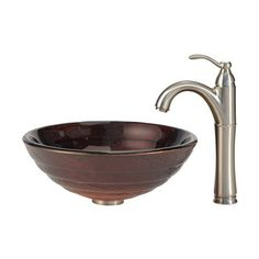 Kraus C-GV-693-19mm-1005 Copper Kraus Iris Glass Vessel Sink and Riviera Faucet Chrome