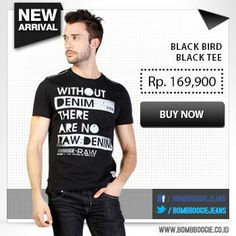 Black Bird Black Tee for today's outfit. Get it now, click : www.bombboogie.co.id