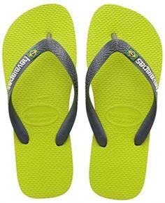 Infradito Havaianas con il logo del Brasile, Infradito comode, Unisex – bambino di colore Verde