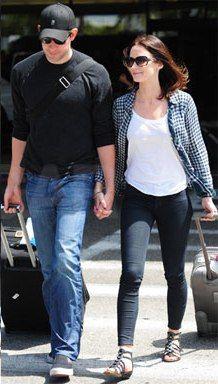 Emily Blunt out with husband John Krasinksi wearing Rails Kendra Navy Check.