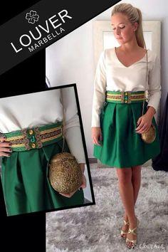 #Louvermarbella#falda#tafetan#verdebotella#blusa#beige#cinturon#pasamaneria#bombonera#dorada