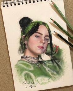 Beautiful colored pencils portrait done by . Cool Art Drawings, Pencil Art Drawings, Art Sketches, Horse Drawings, Drawing Art, Billie Eilish, Colored Pencil Portrait, Color Pencil Art, Desenhos Halloween