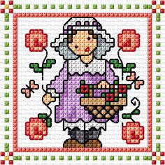 """August"" Sunbonnet Sue and Sal 2018 by Lesley Teare Cross Stitch Owl, Small Cross Stitch, Cross Stitch For Kids, Cross Stitch Cards, Cross Stitch Designs, Cross Stitching, Cross Stitch Embroidery, Cross Stitch Patterns, Cross Stitch Pictures"